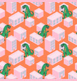 dino monster in a pink city seamless vector image