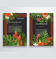 exotic flower background on a darckjungle vector image
