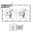 find 9 differences game snowdrop vector image vector image