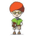 Funny cartoon redhead nerd genius in glasses with vector image