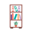 furniture bookcase books folder and pot plant vector image vector image