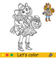 halloween coloring with colored example cute vector image