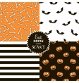Halloween set of seamless patterns vector image