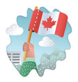hands holding up of canada flag vector image vector image