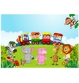 Happy kids on a colorful train with animal vector image