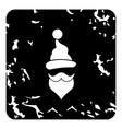 Hat and beard of Santa Claus icon grunge style vector image
