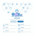 hosting concept with thin line icons vps vector image vector image