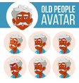 indian old man avatar set face emotions vector image vector image