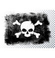 isolated black pirate flag with skull and bones vector image