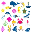 isolated fishes and beasts from the sea shark vector image