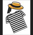 italy or venice gondolier shirt and hat symbols of vector image vector image