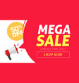 mega sale banner design with off price discount vector image