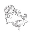 mermaid swimming with cute dolphin vector image