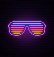 neon shutter glasses sign bright sunglasses vector image vector image
