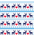 Nordic seamless pattern with deer and hearts vector image vector image