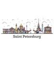 outline saint petersburg russia city skyline vector image