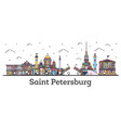 outline saint petersburg russia city skyline with vector image