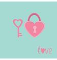 padlock and key in shape heart love card vector image
