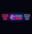 poker neon sign design template casino vector image vector image