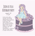 princess cake birthday party girl vector image