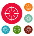 radiolocator icons circle set vector image vector image