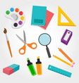 school material rubber pencil pen notebook paint vector image vector image