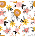 seamless floral pattern with flat stylized vector image vector image