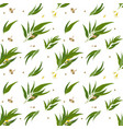 seamless pattern with eucalyptus leaves seeds and vector image