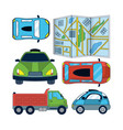 set of autonomous car icons vector image