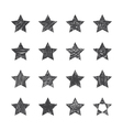 Set of hand drawn stars on white background vector image