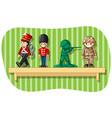 soldier figures on wooden shelf vector image vector image