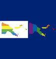 spectrum pixel dotted papua new guinea map vector image