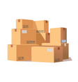 stack cardboard boxes vector image