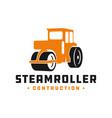 steamroller construction tool logo vector image vector image