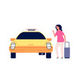 traveller and taxi road to airport young woman vector image