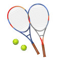 two tennis rackets and two balls vector image