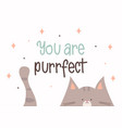 you are purrfect greeting card for valentines day vector image