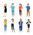 young people with gadgets vector image
