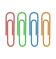 Colorful paper clips icon realistic style vector image