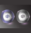 3d silver button on gray background vector image