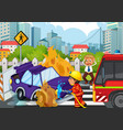 accident scene with fireman and car on fire vector image vector image
