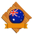 australia flag on round button with banner vector image vector image