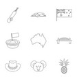 australia travel icon set outline style vector image vector image