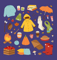 autumn icons stickers hand drawn vector image vector image