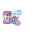 babysitter feeding kid in kitchen vector image