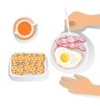 Bacon Egg Cookies And Orange Juice Set Of vector image vector image