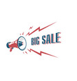 big sale sign with retro megaphone vintage vector image vector image
