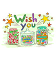Birthday greeting card with jars and wishes vector image vector image