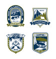 camping badge shield mountain or forest camp vector image vector image