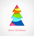 Christmas card Colorful cut out paper tree vector image